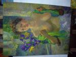 картина Девушка с ирисами 50х70
