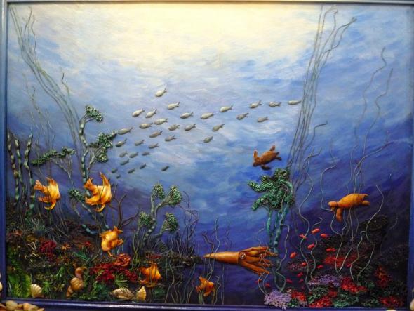 """Картина из кожи""""Подводный мир""""."""