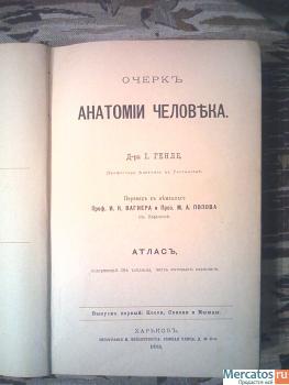 Антикварный атлас анатомии человека Д-ра Генле 1881г издания
