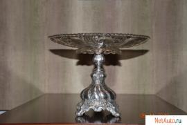 ваза, глубокое серебрение,стекло,клемо WARSZAVA, начало 20 века