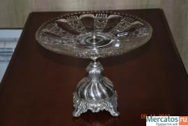 ваза, глубокое серебрение,стекло,клемо WARSZAVA, начало 20 века 2