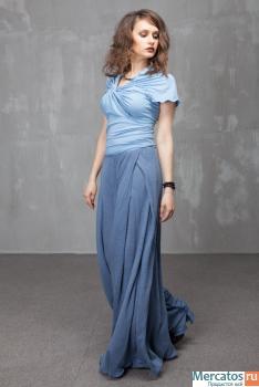 П_019 Брюки-юбка палаццо, цвет голубой.