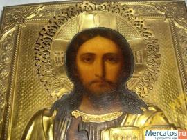 Икона Вседержитель Спас Оклад Киот Позолота рельеф 2