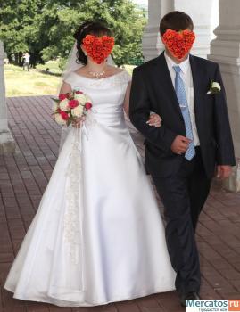 Великолепное свадебное платье (р-р 48-50,рост158,а - силуэт) 1.