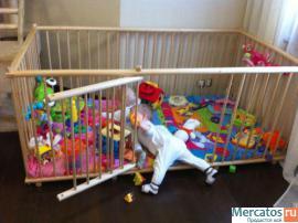 Большой детский деревянный манеж 1.1х1.8м с калиткой для малышей